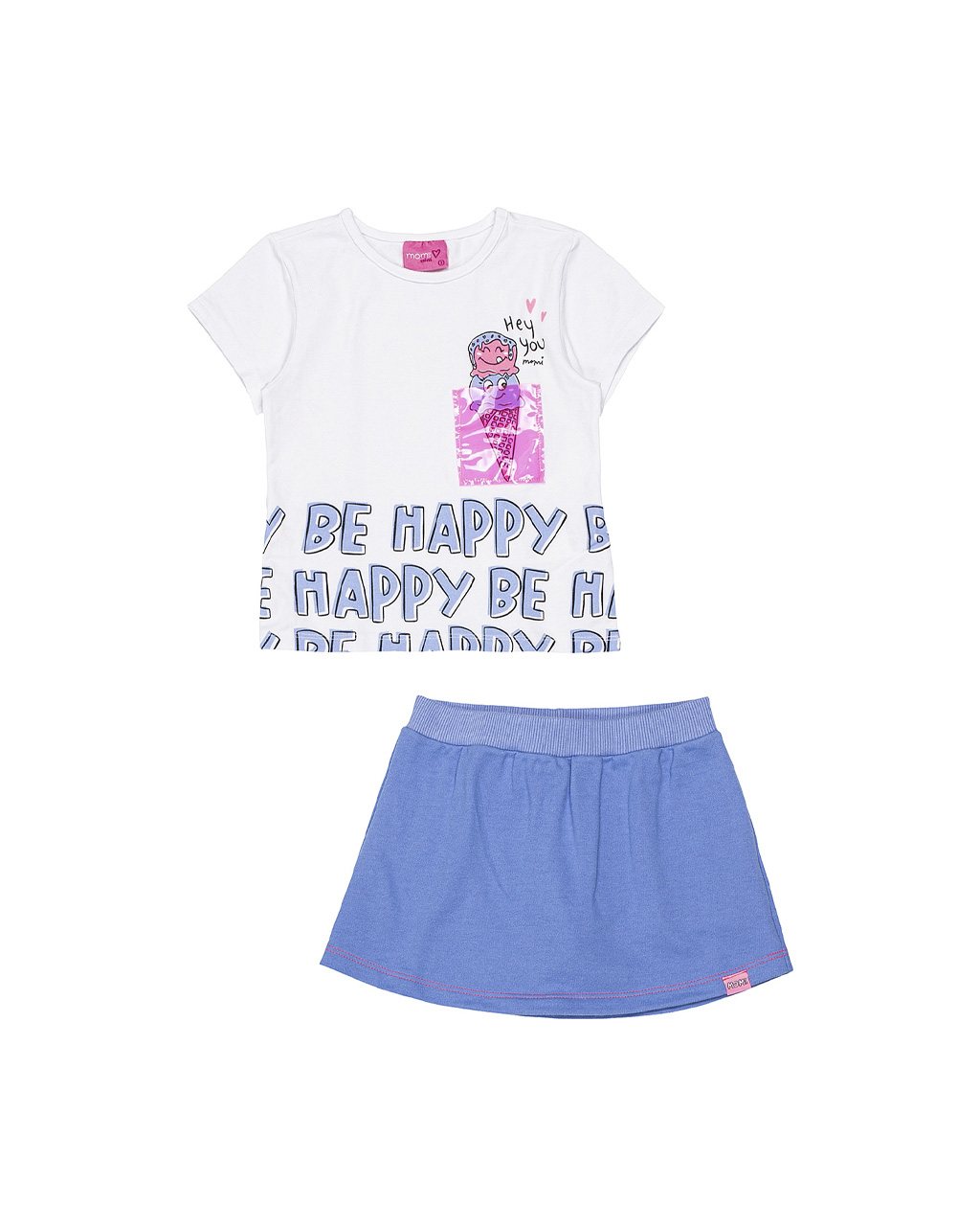 Conjunto Infantil Blusa Be Happy e Saia Off White Momi