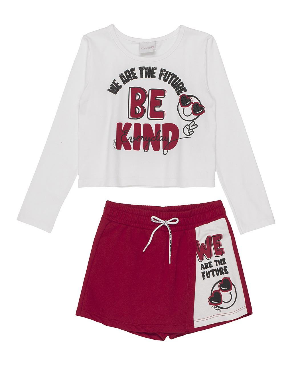 Conjunto Infantil Blusa Be Kind Shorts Saia Vermelho Momi