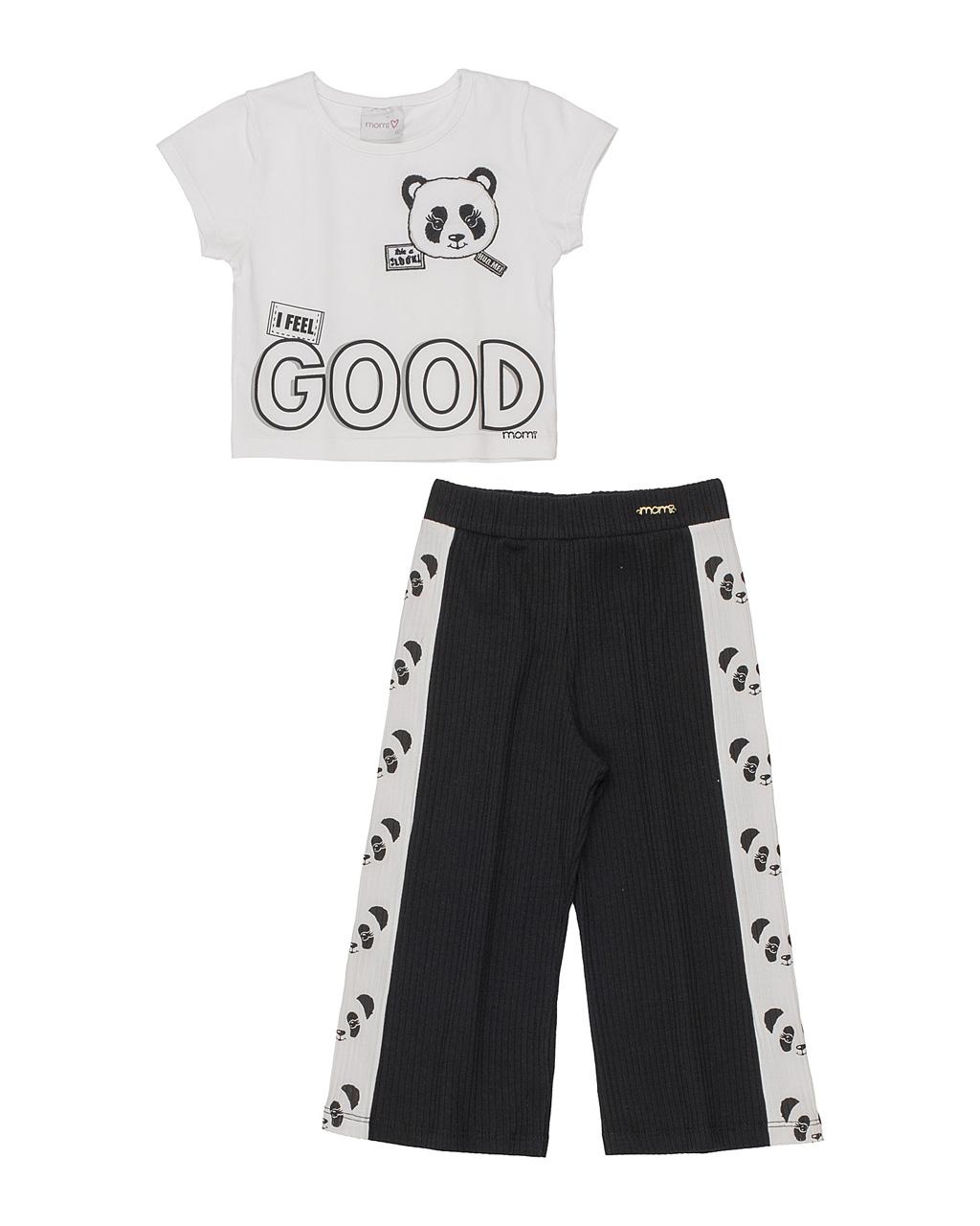 Conjunto Infantil Blusa Beija Cós Panda com Calça Canelada Preta Momi