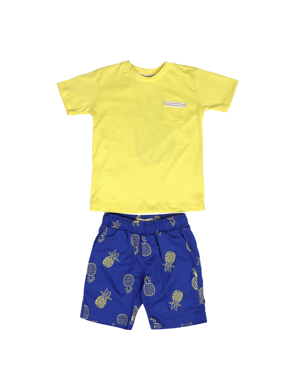 Conjunto Infantil Blusa Bolso Amarela com Shorts Azul Abacaxi Precoce