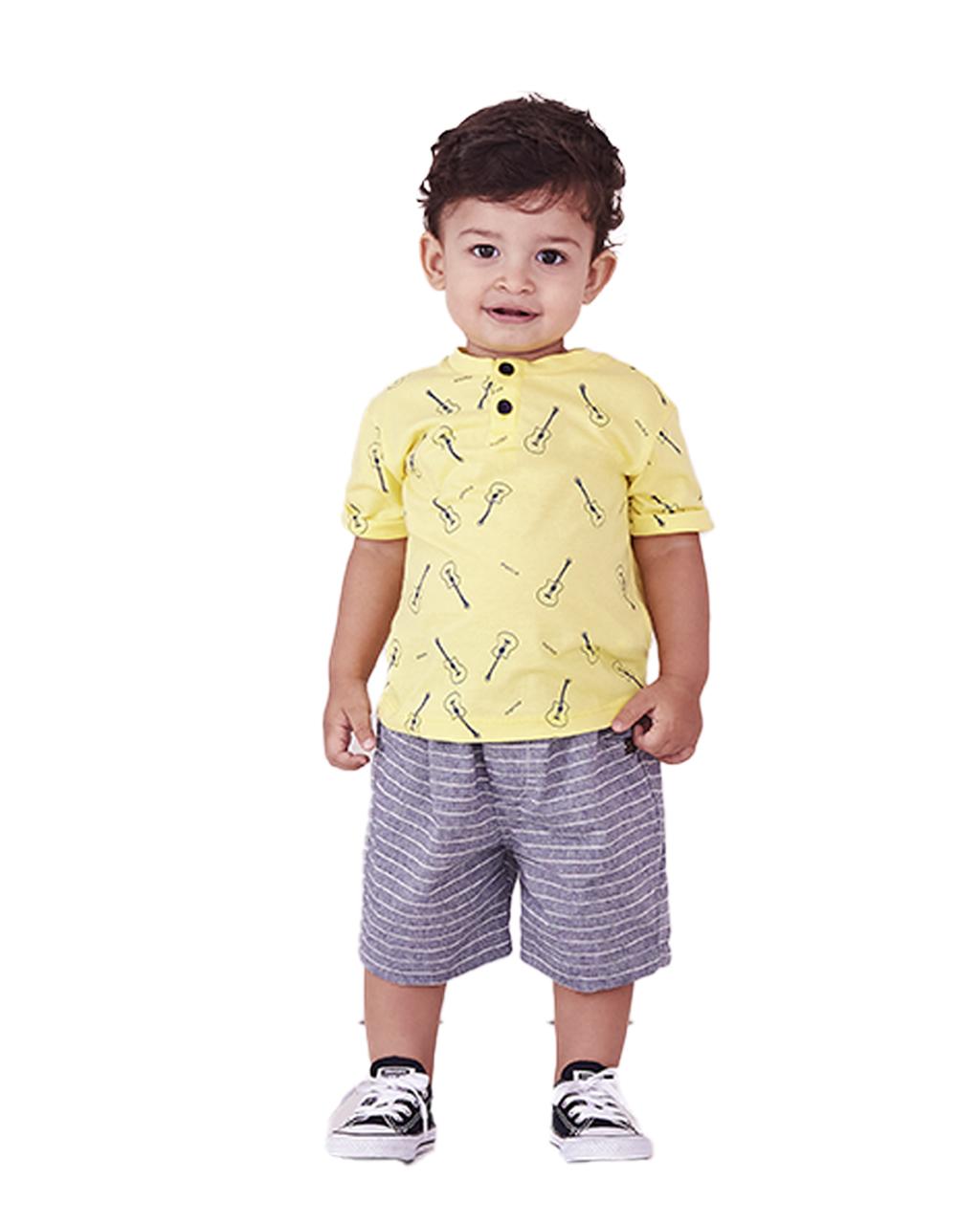 Conjunto Infantil Blusa Botões Amarela Violão com Shorts Listras Algodâo Precoce