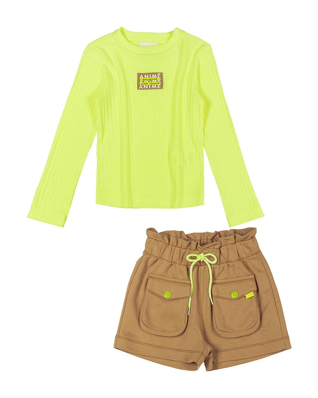Conjunto Infantil Blusa Canelada Amarelo Neon e Shorts Caramelo Moletom Animê