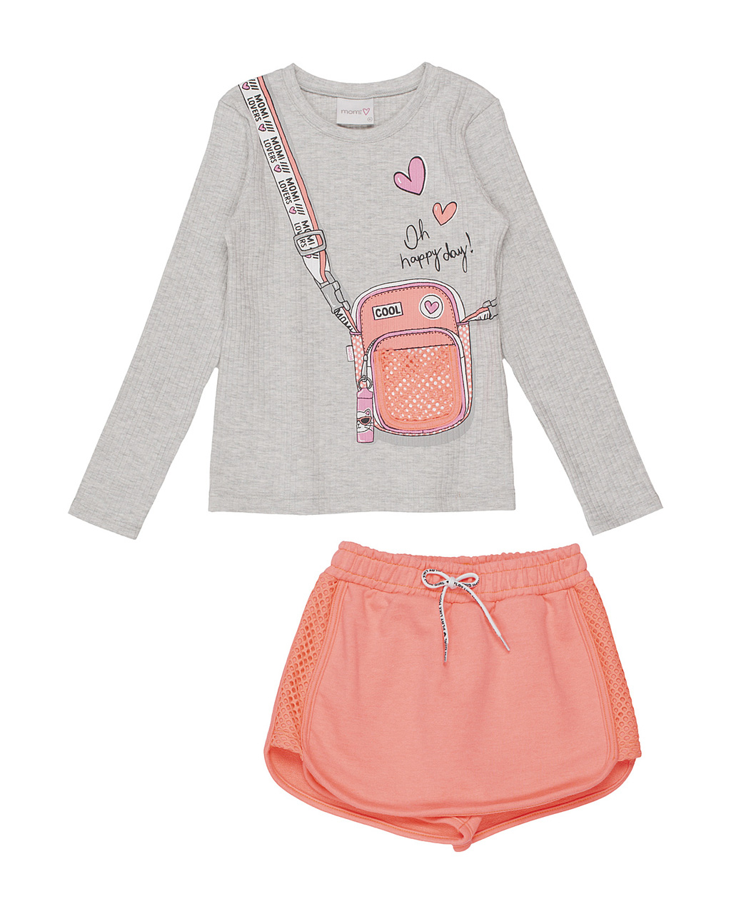 Conjunto Infantil Blusa Canelada Bolsinha em Tela com Shorts Neon Momi