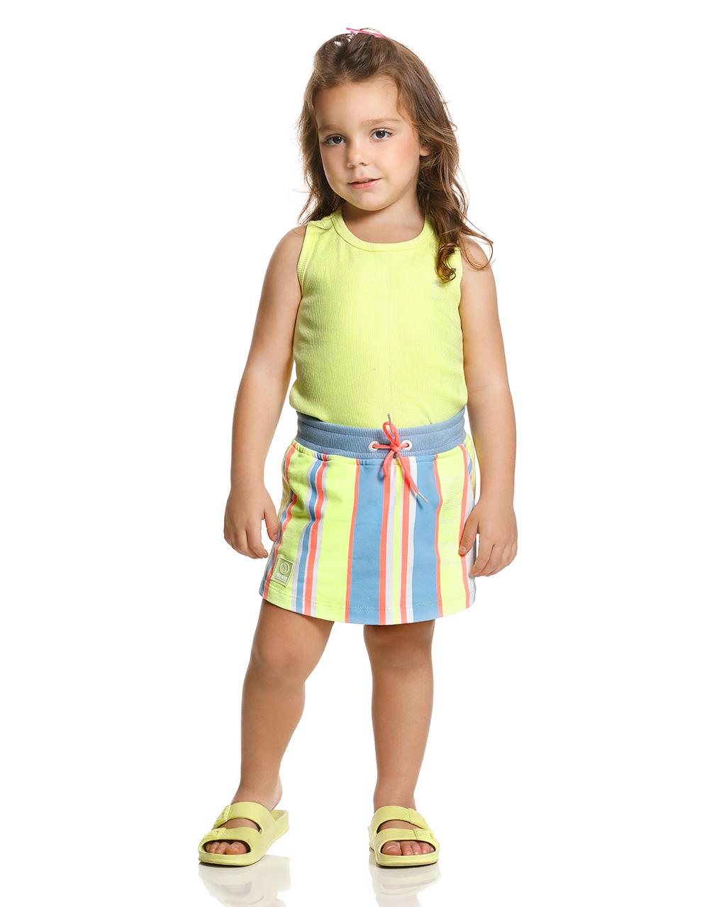 Conjunto Infantil Blusa Canelada e Shorts Saia Listrado Poah Noah
