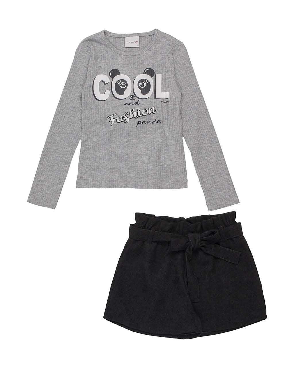 Conjunto Infantil Blusa Canelada Fashion Panda com Shorts Cotelê Preto Momi