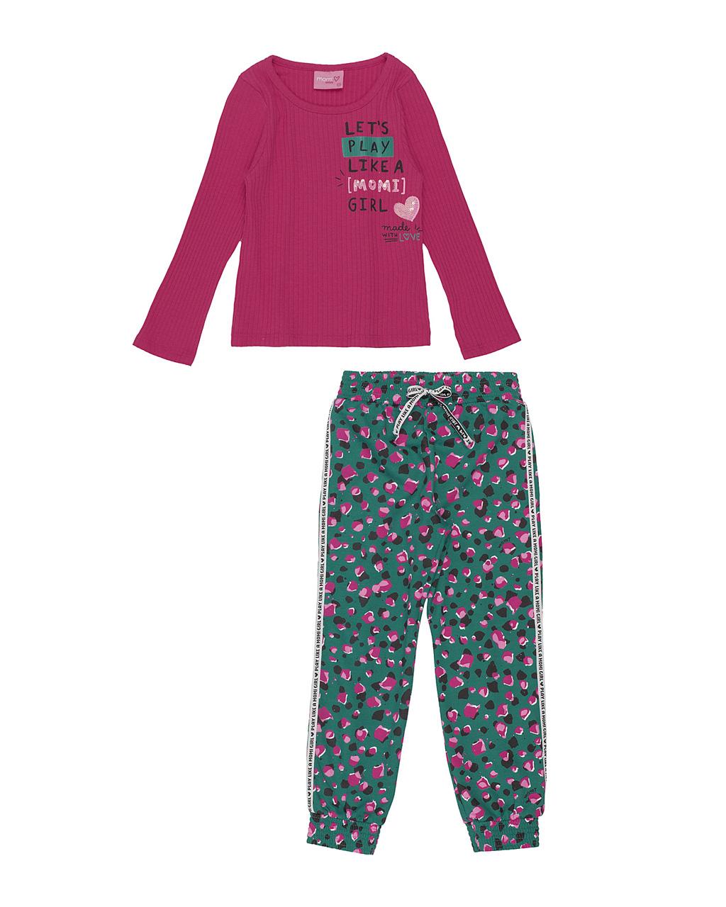 Conjunto Infantil Blusa Canelada Girl Pink com Calça Jogger Estampada Momi