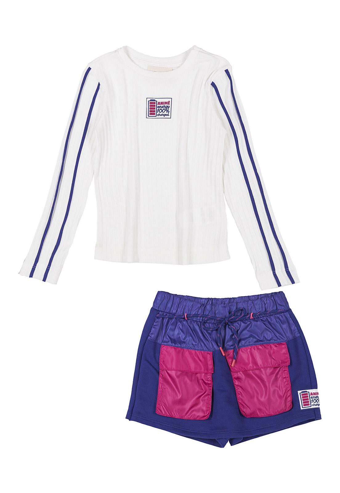Conjunto Infantil Blusa Canelada Off White e Shorts Saia Moletom com Corta Vento Azul Royal Animê