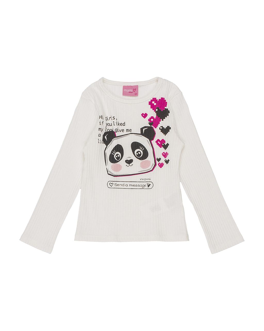 Conjunto Infantil Blusa Canelada Panda com Calça Moleton Preta Momi
