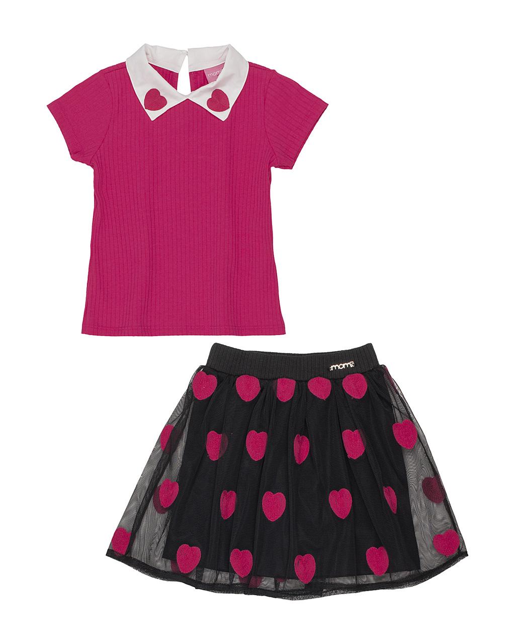 Conjunto Infantil Blusa Canelada Rosa Com Gola e Saia Tule PÓA Coracão Rosa Momi