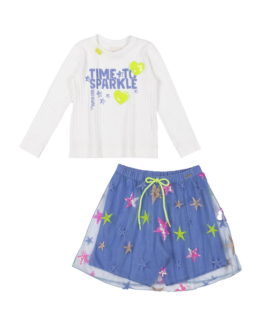 Conjunto Infantil Blusa Canelado Com Silk e Saia Tule Bordado Animê