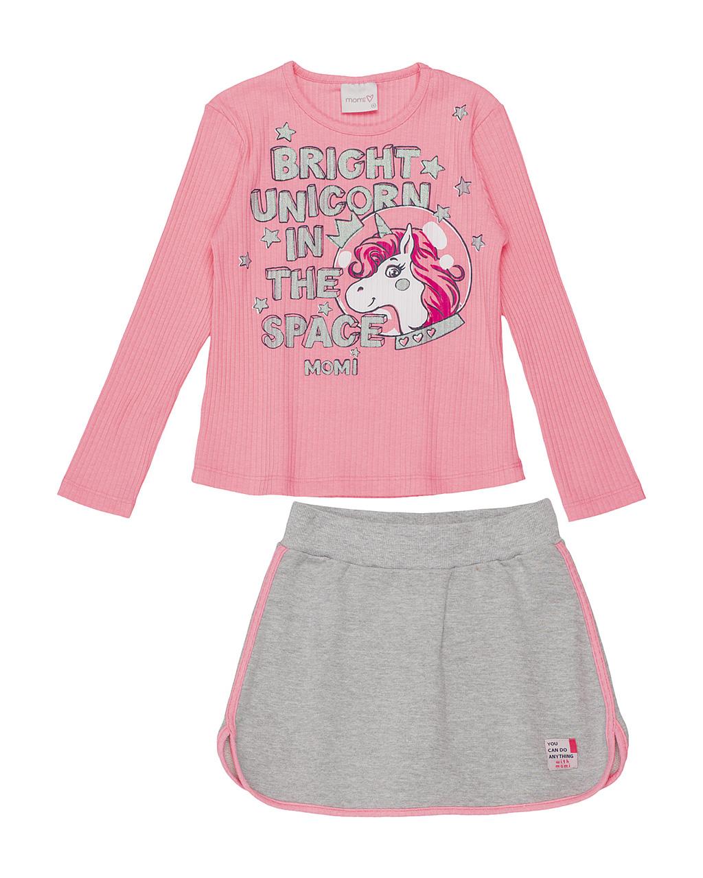 Conjunto Infantil Blusa Canelado Unicornio Rosa Neon E Saia Cinza e Neon Momi