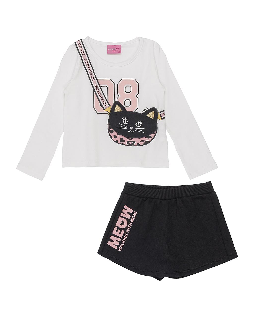 Conjunto Infantil Blusa Cat Bag com Shorts Saia Preto Meow Momi