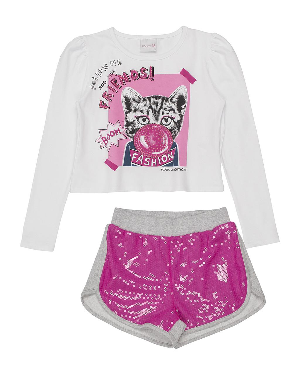 Conjunto Infantil Blusa Cat Ball Strass E Shorts Paetê Rosa Momi
