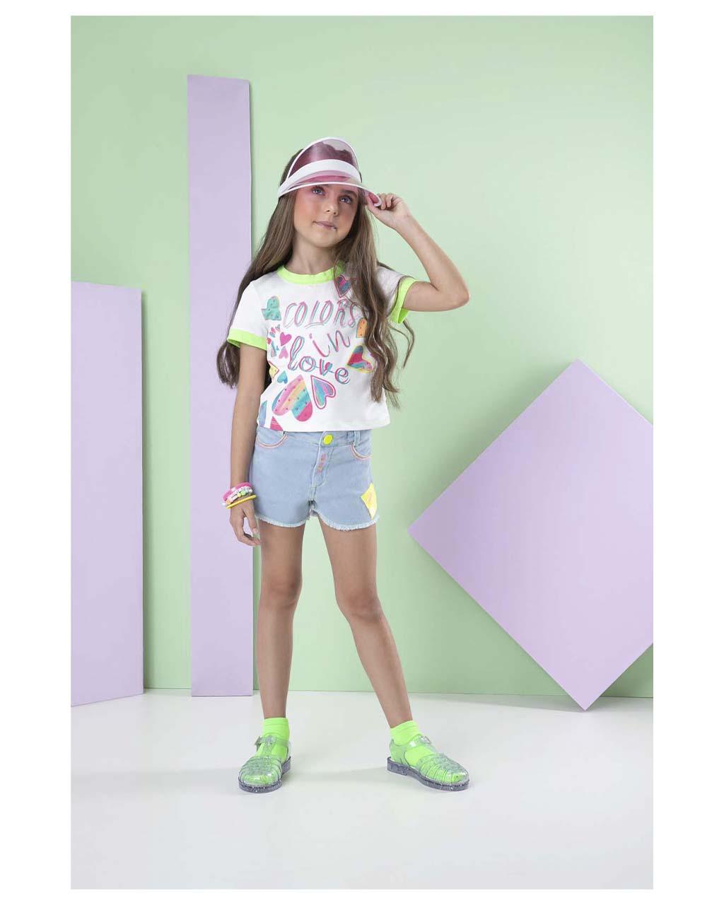 Conjunto Infantil Blusa Colors in Love e Shorts Málagah