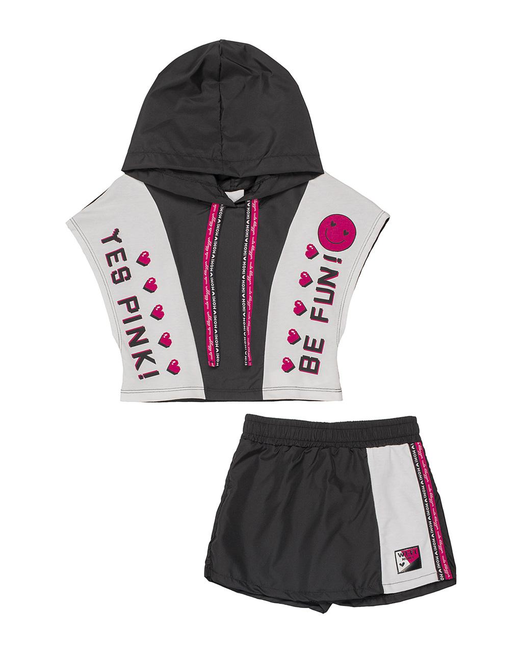 Conjunto Infantil Blusa Com Capuz Tactel E Shorts Saia Sport Tactel Preta Momi