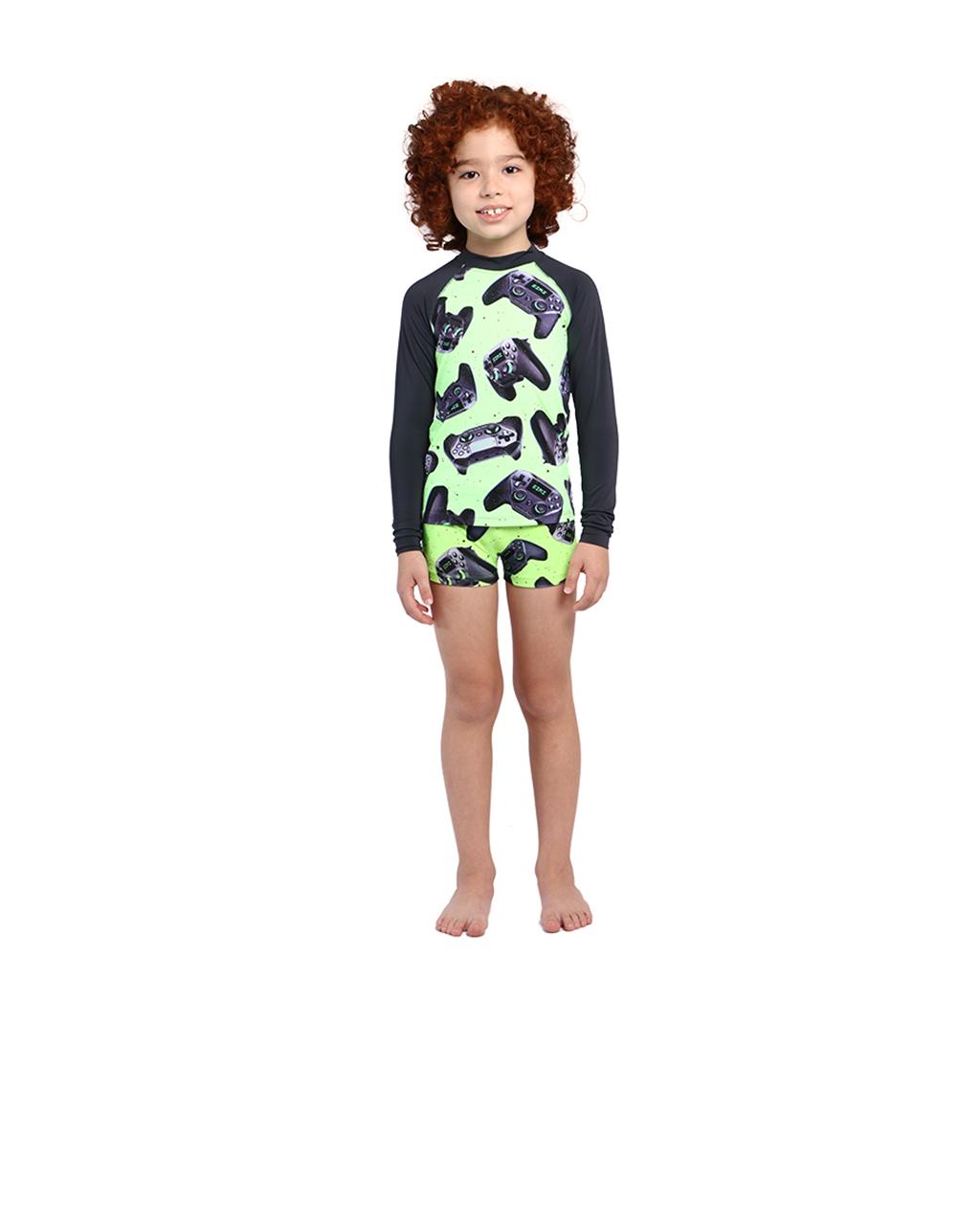 Conjunto Infantil Blusa com Proteção Uv e Sunga Siri
