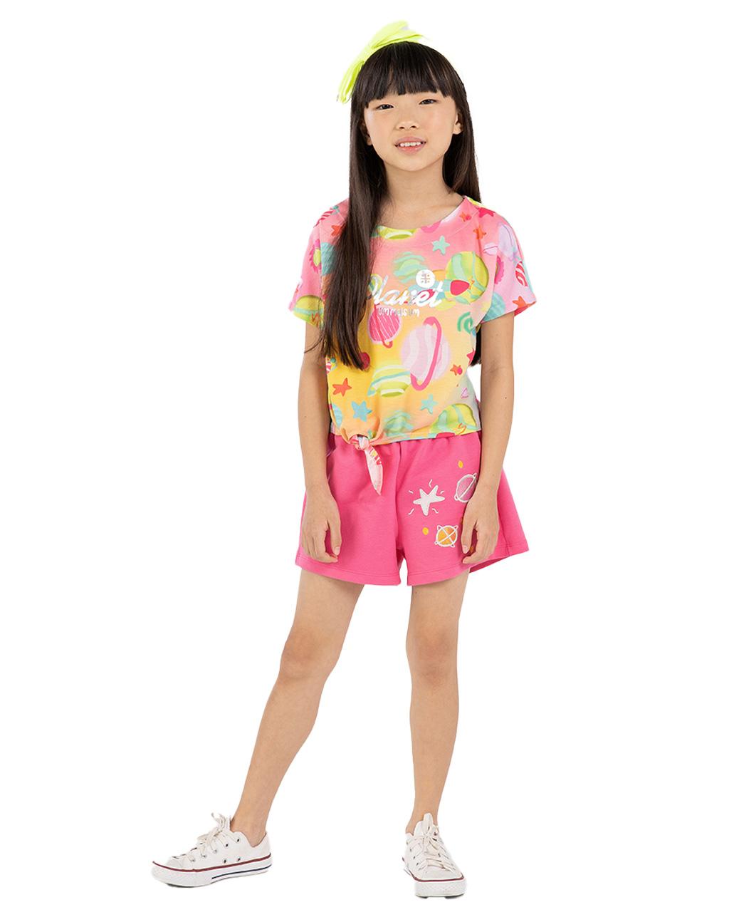 Conjunto Infantil Blusa com Shorts Planet Um Mais um