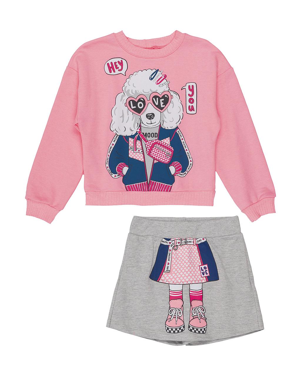 Conjunto Infantil Blusa com Shorts Saia Moletom Dog Love Momi