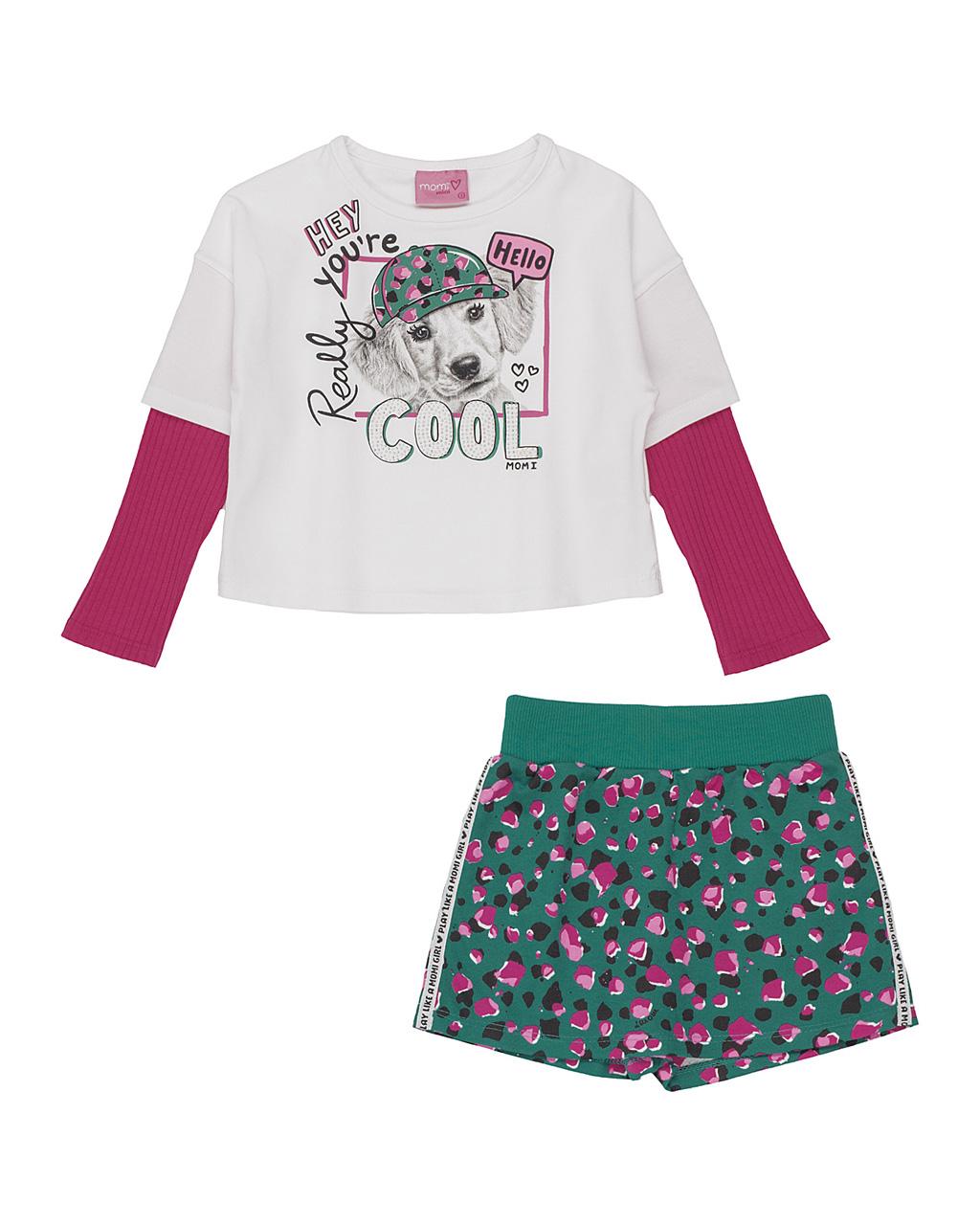 Conjunto Infantil Blusa Cool Cachorro Off E Shorts Saia Verde Manchinhas Momi