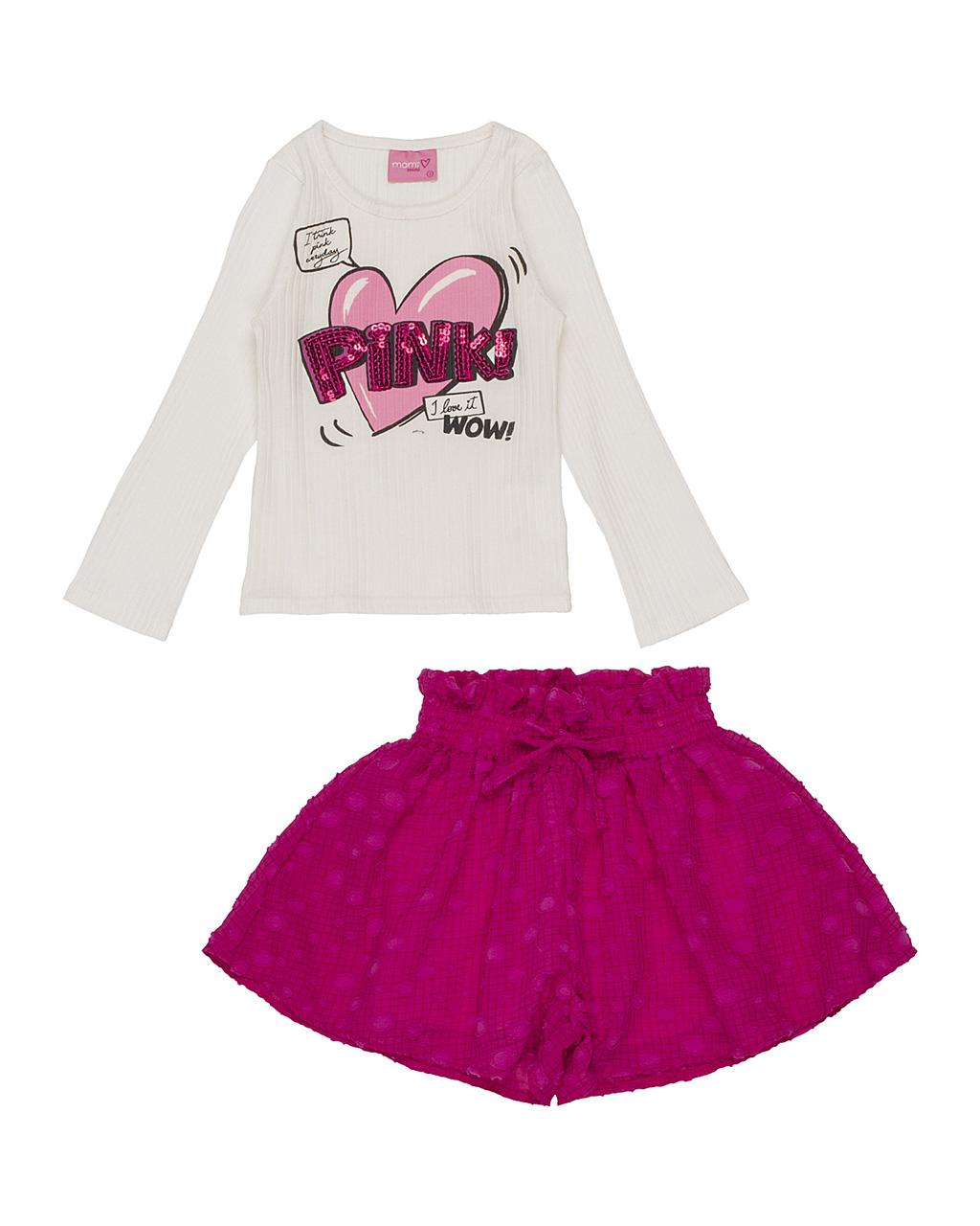 Conjunto Infantil Blusa Coração Pink com Short Bolinhas Momi