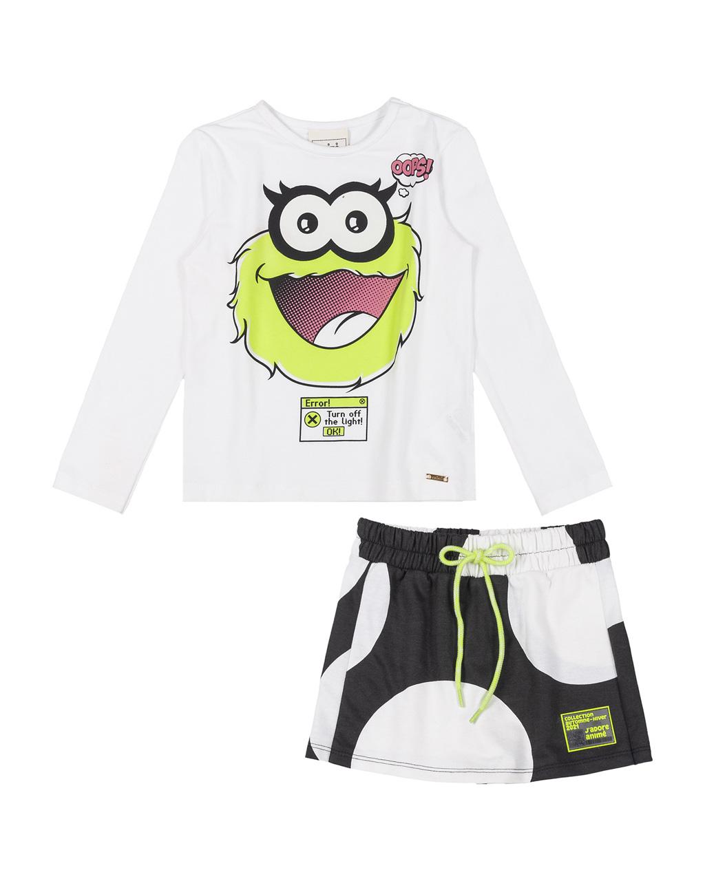 Conjunto Infantil Blusa Cotton Arte e Shorts Saia Maxi Poá Detalhes Neon Animê