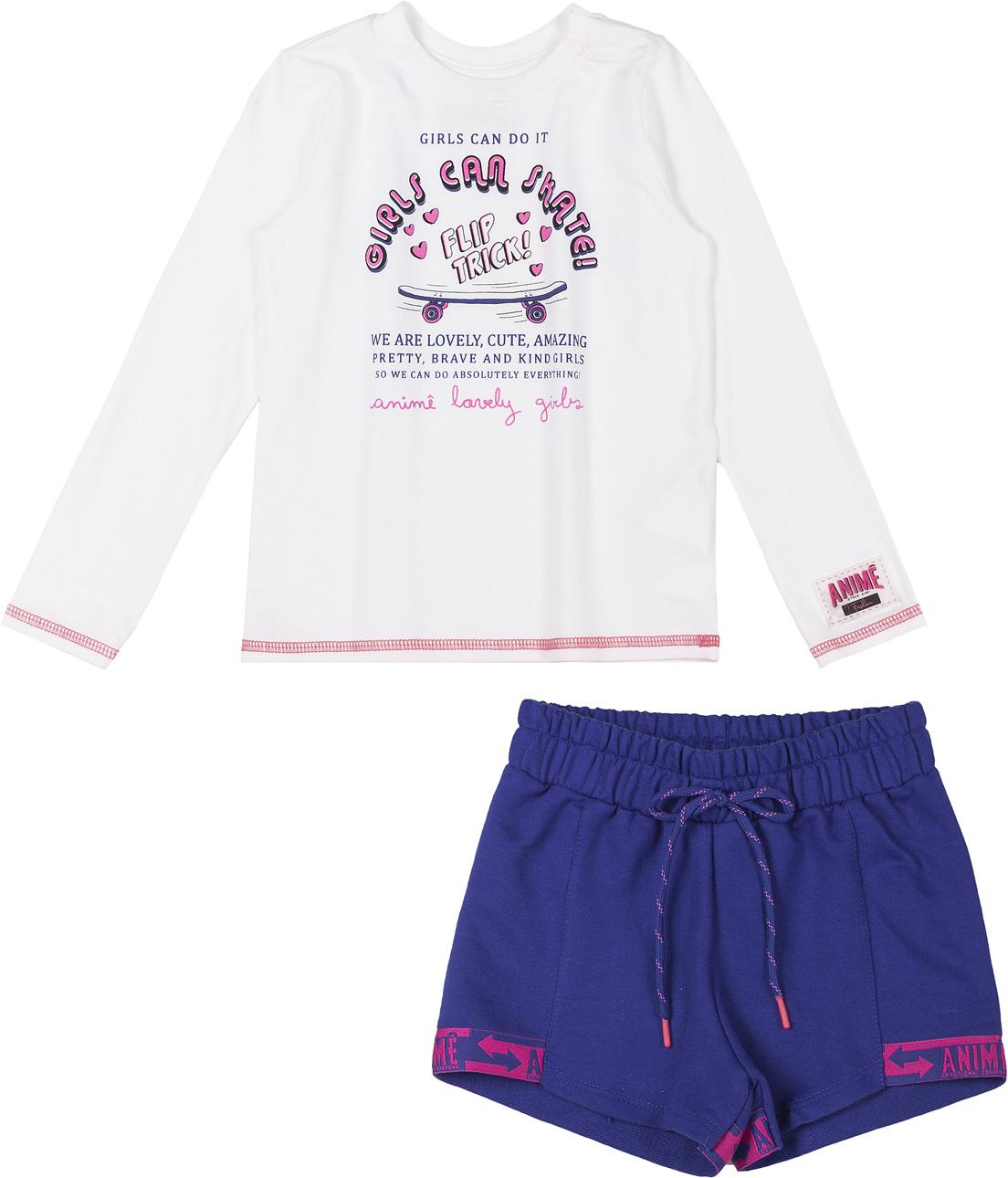 Conjunto Infantil Blusa Cotton Off Withe Shorts Azul Royal Cordão Rabo de Rato Animê