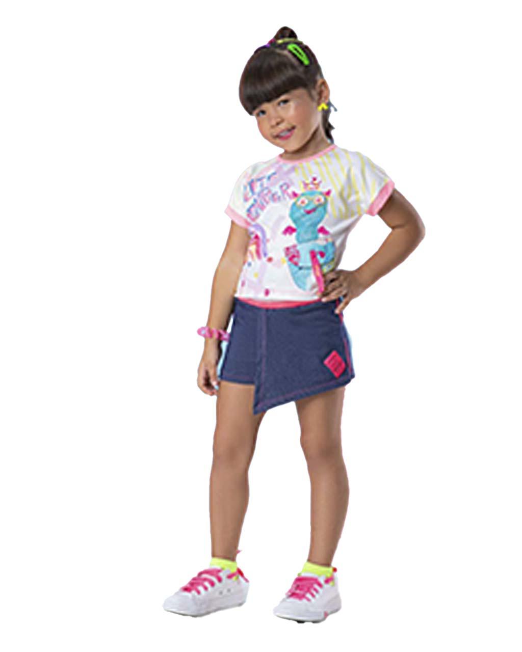 Conjunto Infantil Blusa Cut Monster com Shorts Moletinho Jeans Málagah