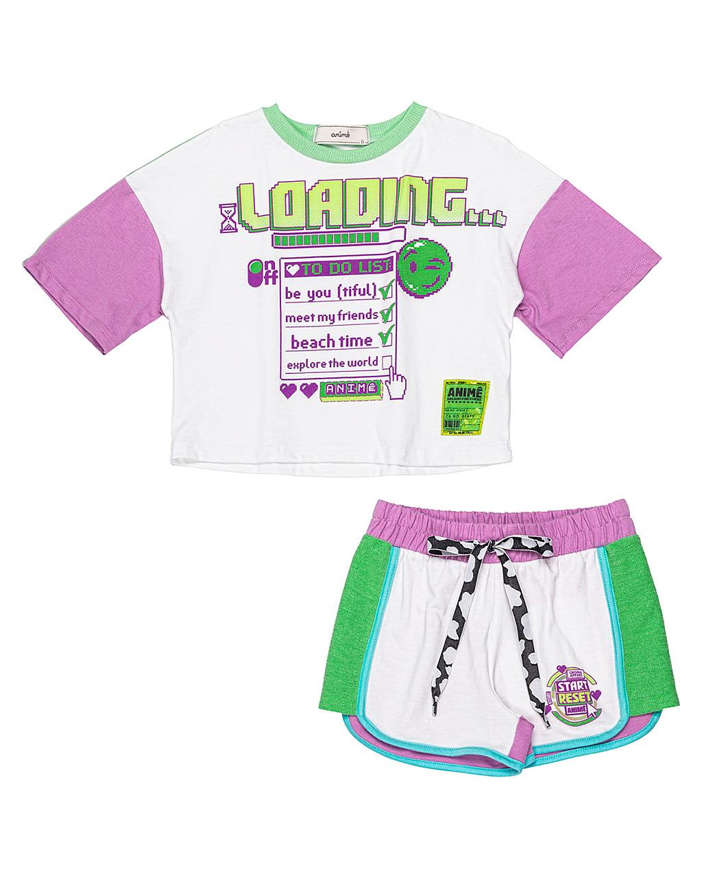 Conjunto Infantil Blusa Detalhes Neon e Shorts Off White Animê