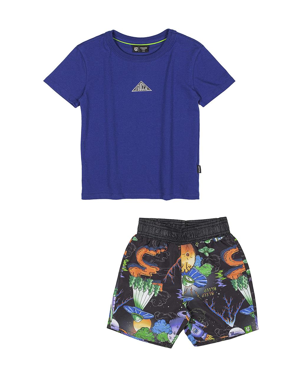 Conjunto Infantil Blusa e Shorts Azul Royal Youccie