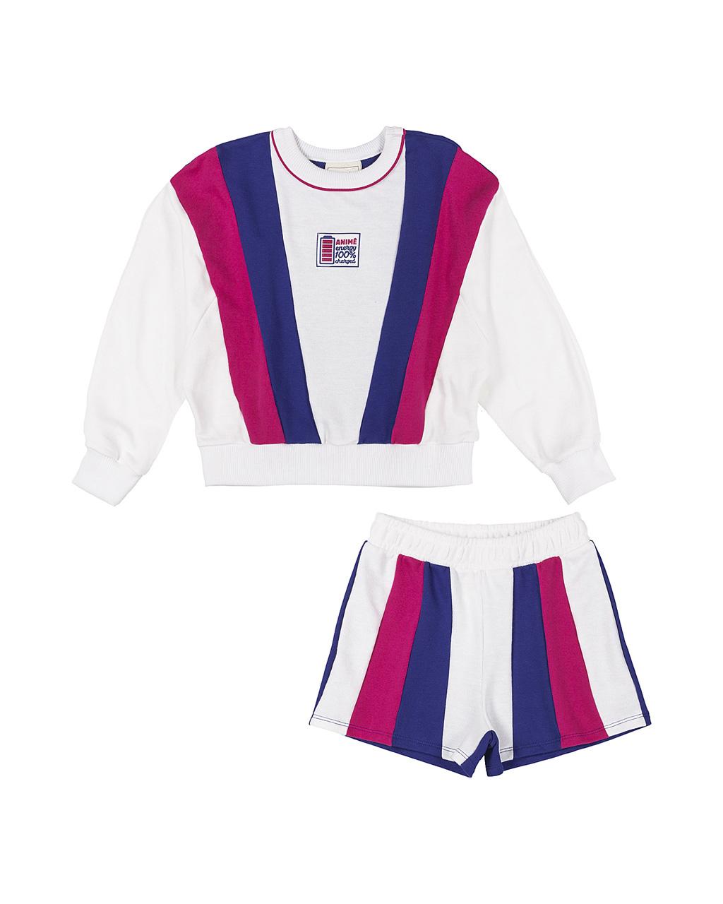 Conjunto Infantil Blusa e Shorts de Moletom Recotes Off Pink Azul Royal Animê