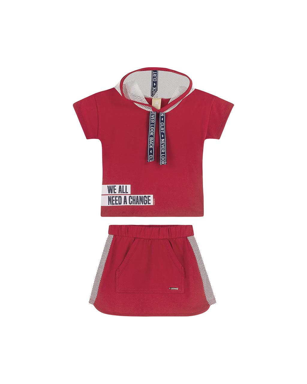 Conjunto Infantil Blusa e Shorts Detalhes em Tela Vermelho Coloritta