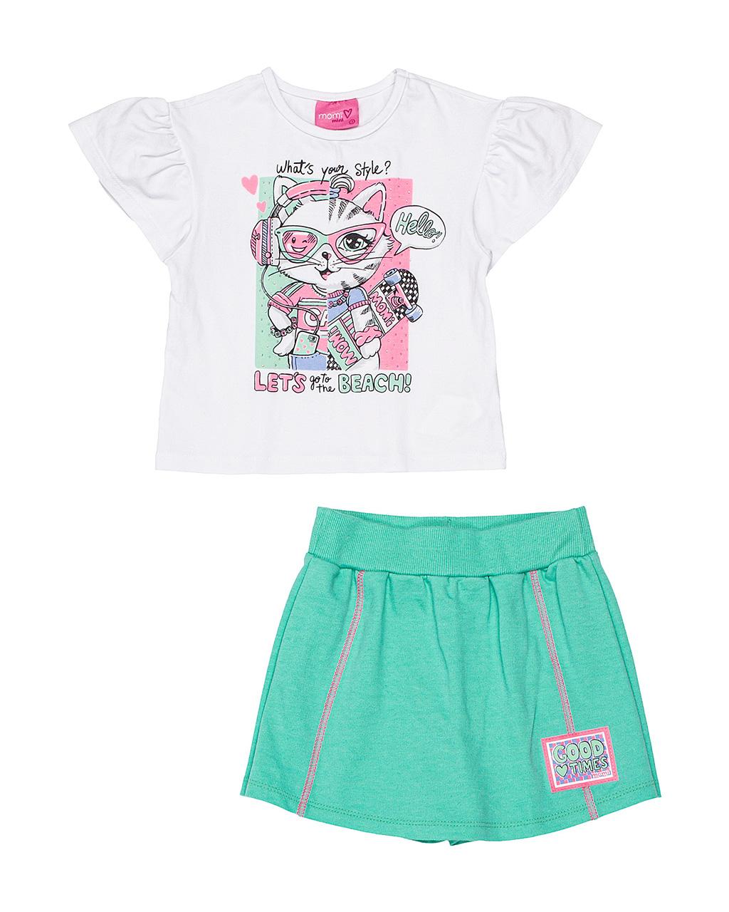 Conjunto Infantil Blusa e Shorts Gatinha Estilosa Momi