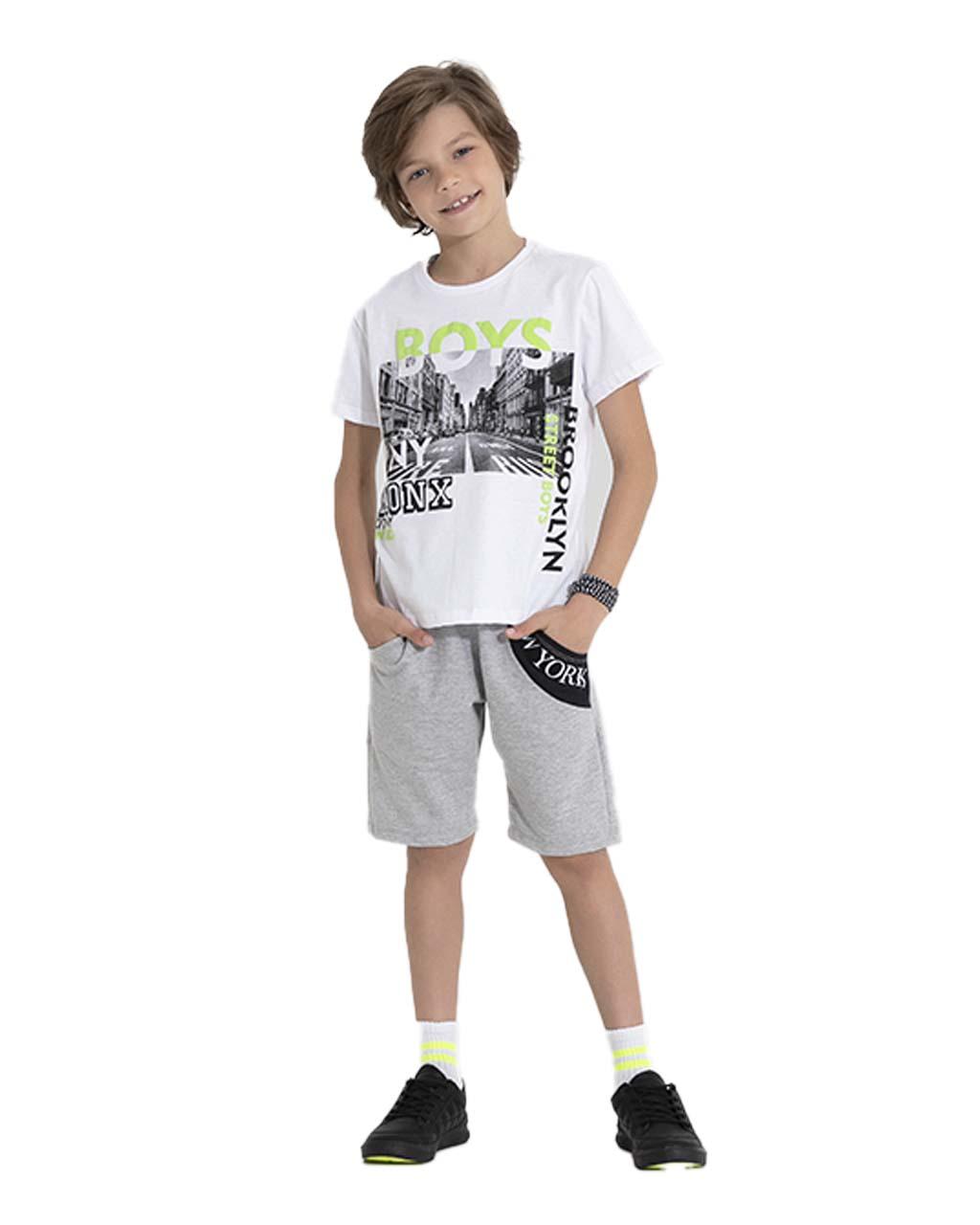 Conjunto Infantil Blusa e Shorts Moletom Boys Pega Mania