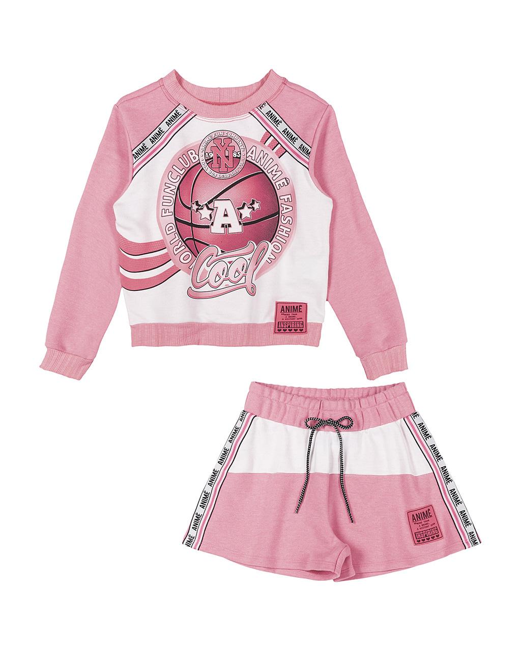 Conjunto Infantil Blusa e Shorts Moletom com Arte Rosa Neon Animê