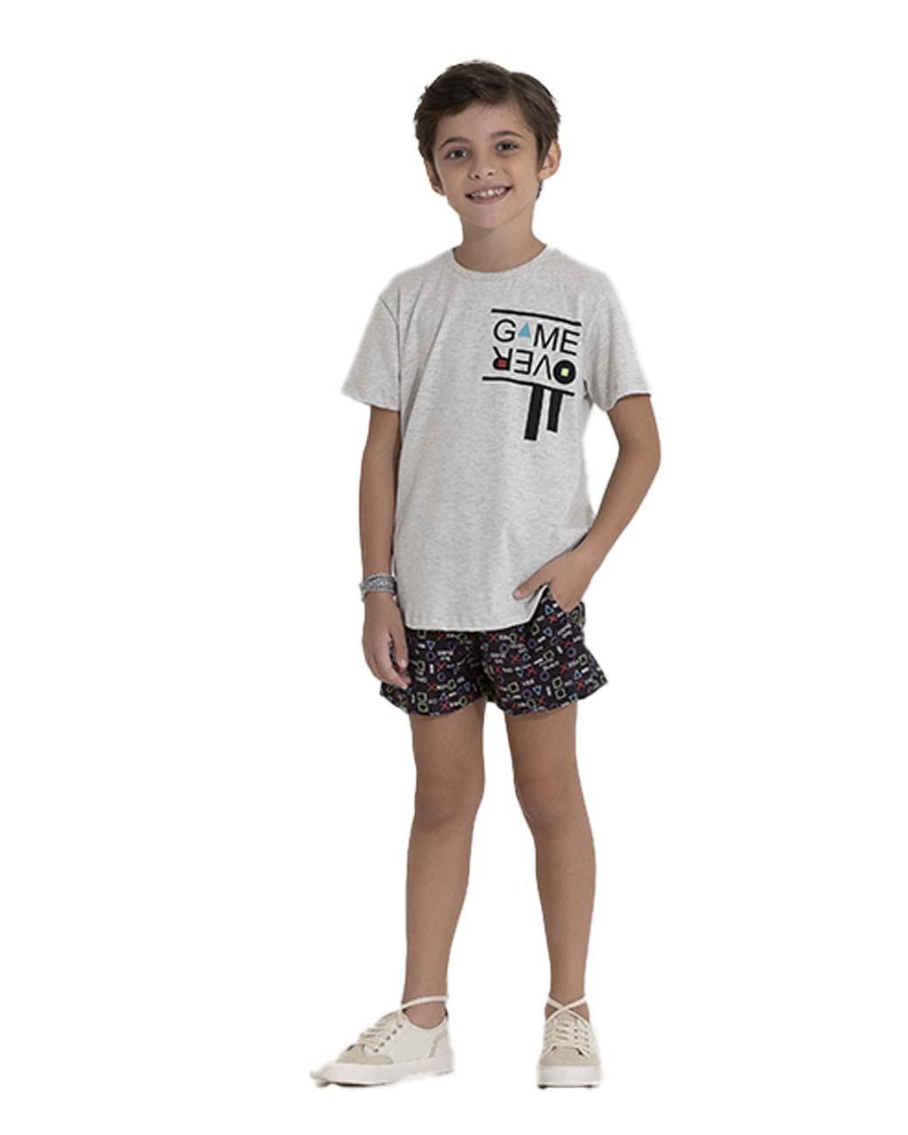 Conjunto Infantil Blusa e Shorts Moletom Game Over Pega Mania