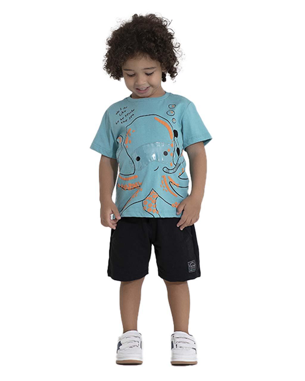 Conjunto Infantil Blusa e Shorts Moletom Pega Mania