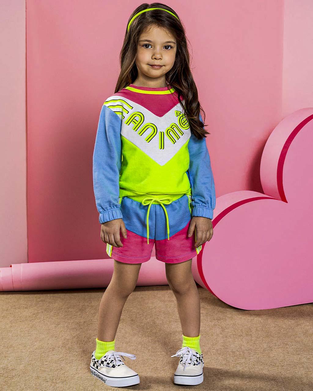 Conjunto Infantil Blusa e Shorts Moletom Recortes Neon Coloridos Animê