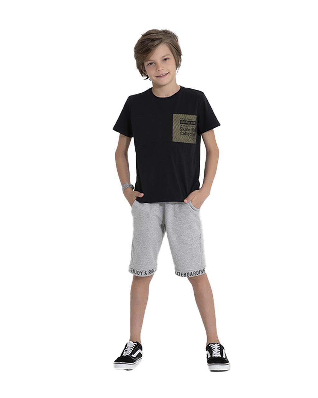 Conjunto Infantil Blusa e Shorts Moletom Skate Pega Mania