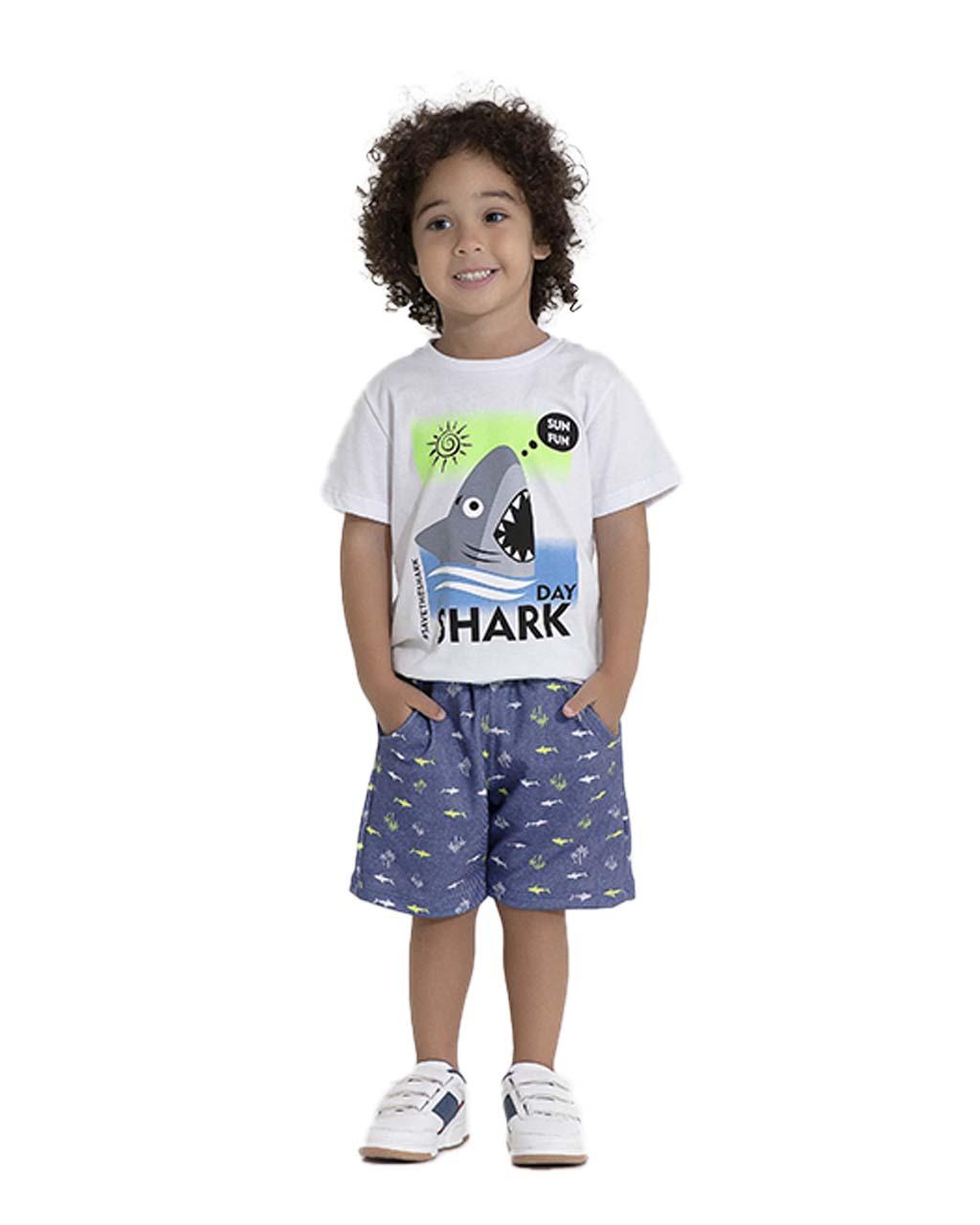 Conjunto Infantil Blusa e Shorts Moletom Tubarão Pega Mania