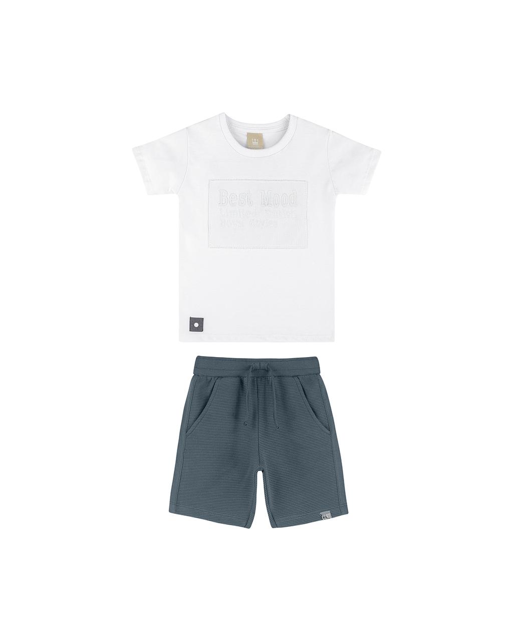 Conjunto Infantil Blusa e Shorts Off White Coloritta