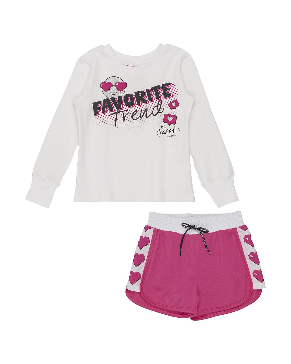 Conjunto Infantil Blusa Emoji Favorite E Shorts Corta Vento Pink Momi
