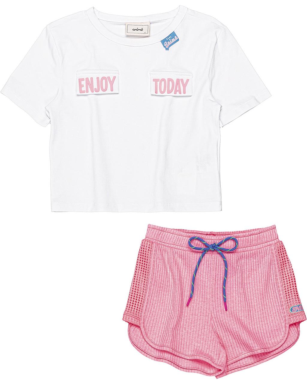 Conjunto Infantil Blusa Enjoy e Shorts Canelado Off White Animê