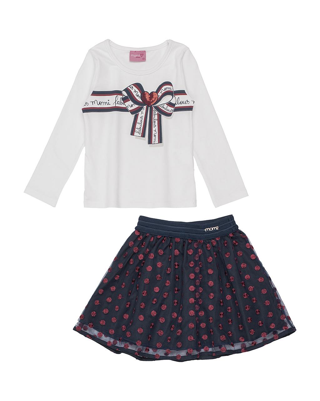 Conjunto Infantil Blusa Estampa Laço com Saia Poá Momi