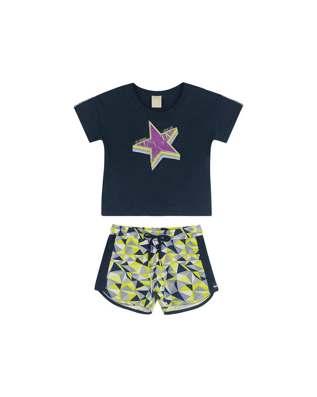 Conjunto Infantil Blusa Estrela e Shorts Azul Marinho Coloritta