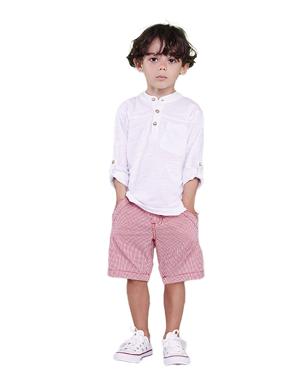 Conjunto Infantil Blusa Flame Branca com Bermuda Xadrez Vermelha Precoce