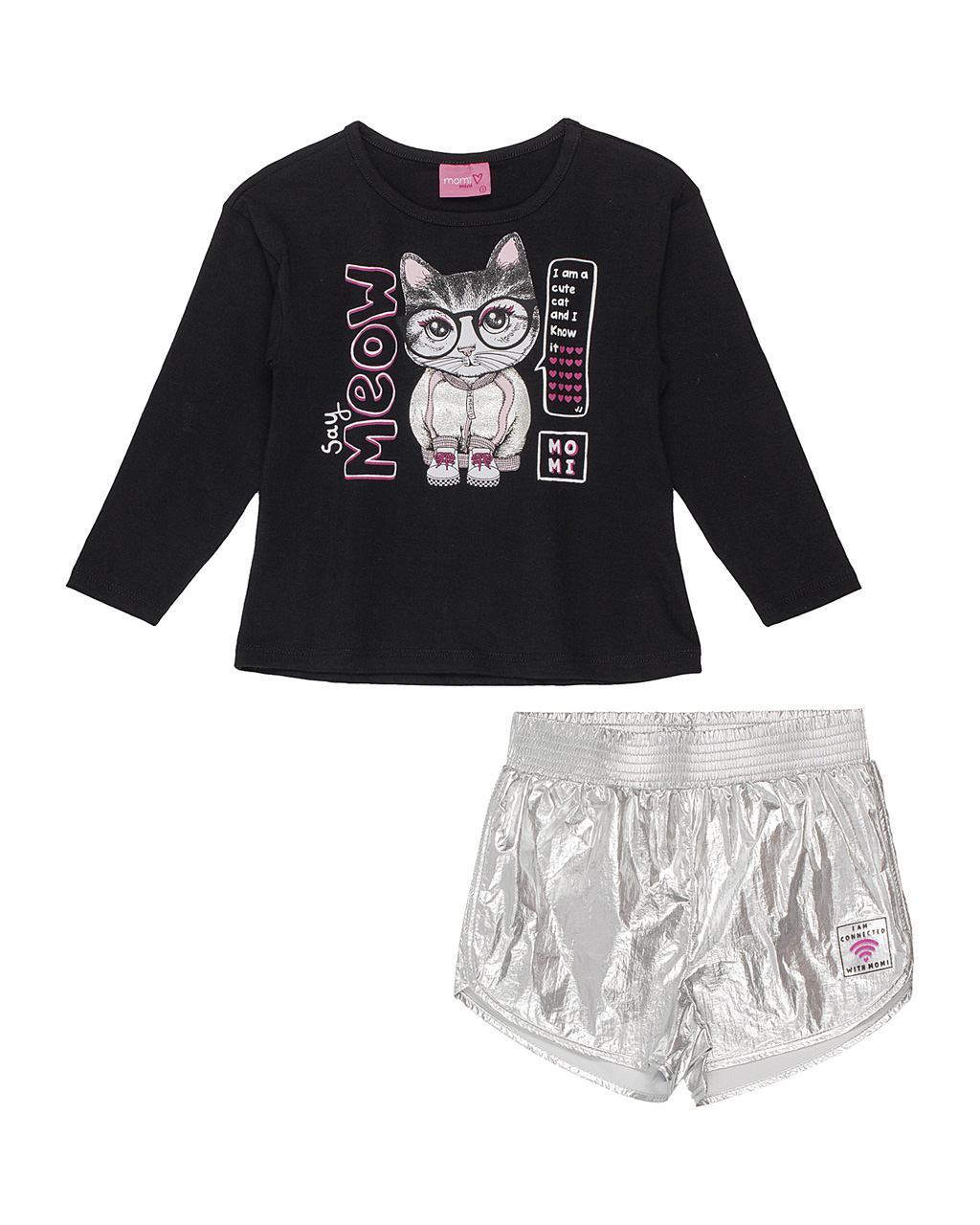 Conjunto Infantil Blusa Gatinha Estilosa com Shorts Prata Momi