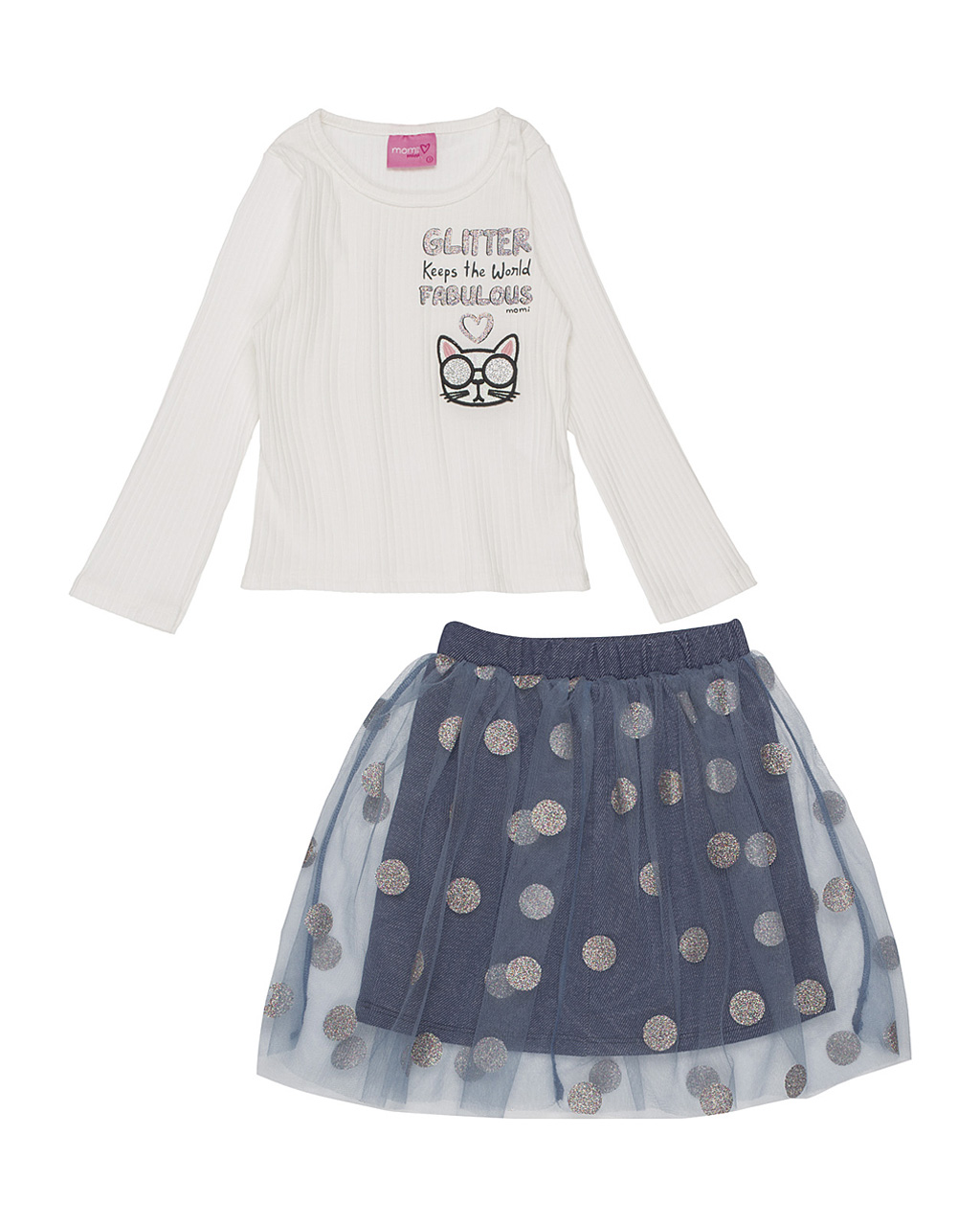 Conjunto Infantil Blusa Gatinha Fabulosa com Saia Tule Poá Brilhoso Momi