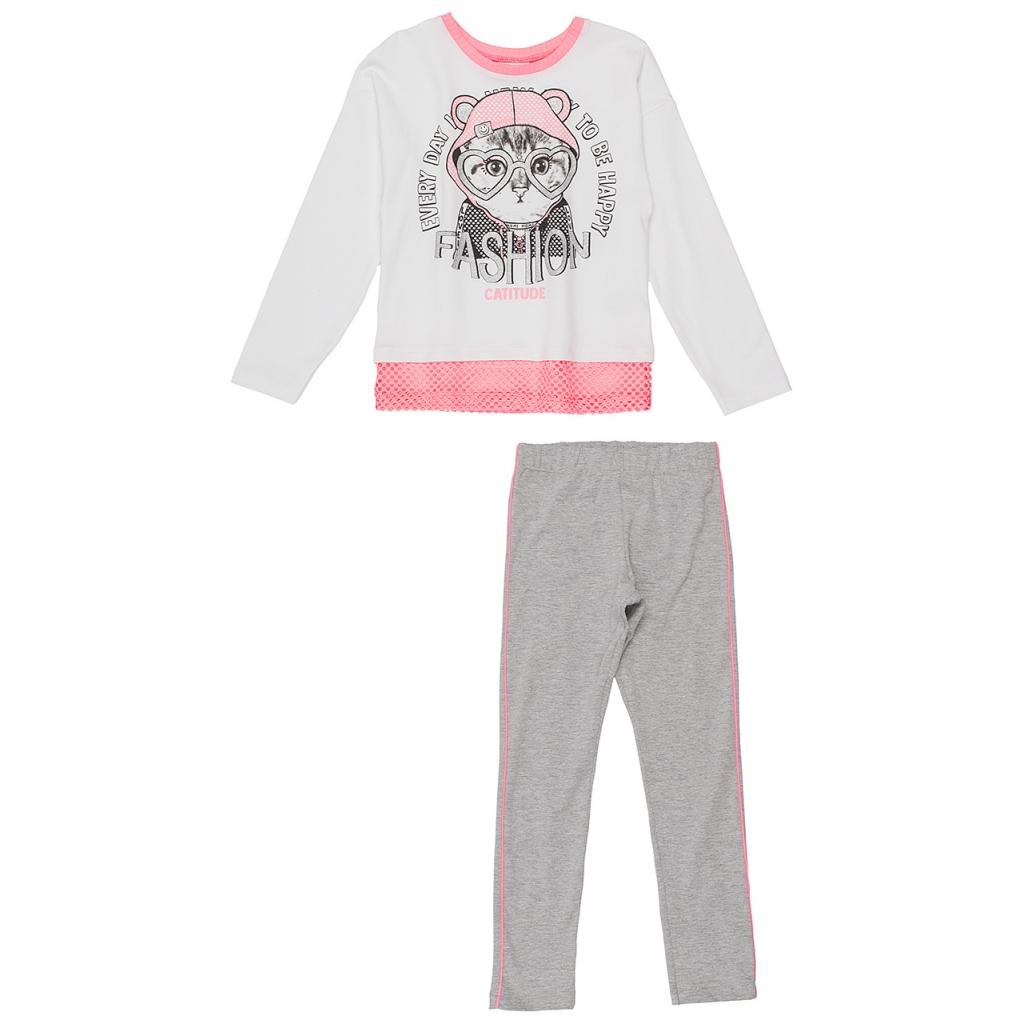 Conjunto Infantil Blusa Gatinha Fashion com Legging Cinza Momi