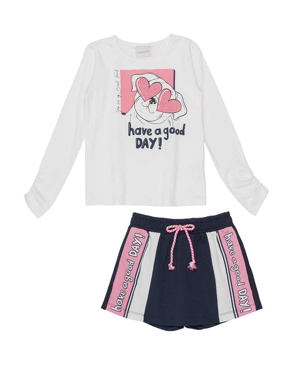 Conjunto Infantil Blusa Have a Good Day e Shorts Saia Marinho Momi