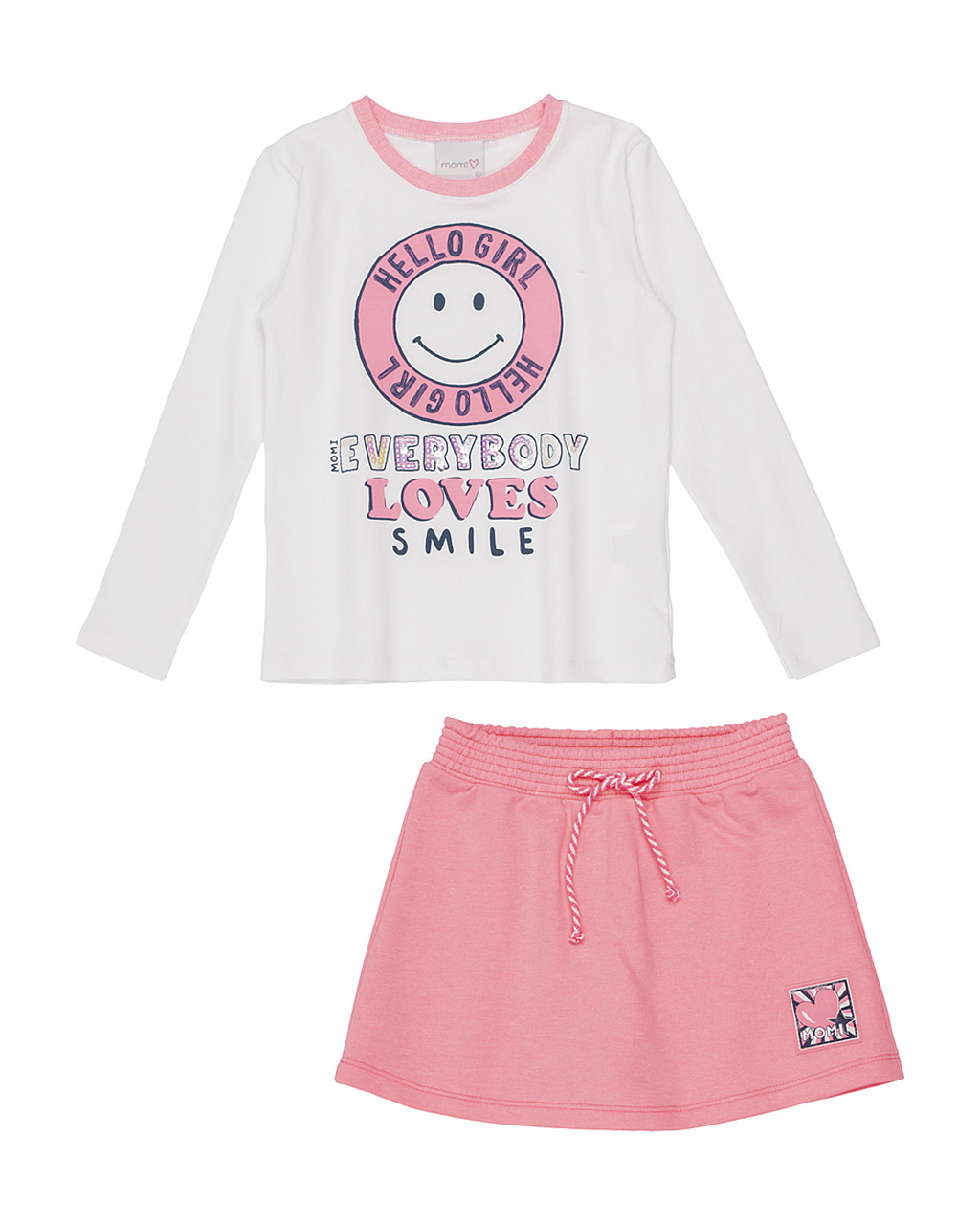 Conjunto Infantil Blusa Hello Girl com Saia Moletinho Rosa Neon Momi
